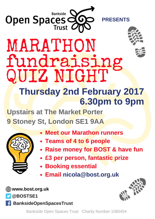 BOST Marathon Fundraising Quiz Night at